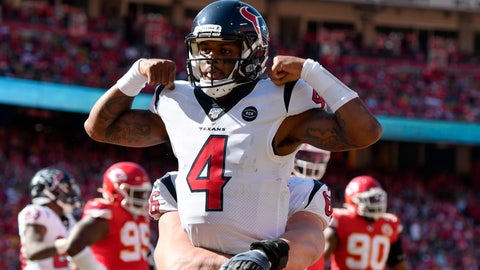 <p>               Houston Texans quarterback Deshaun Watson (4) celebrates his touchdown against the Kansas City Chiefs during the second half of an NFL football game in Kansas City, Mo., Sunday, Oct. 13, 2019. (AP Photo/Ed Zurga)             </p>
