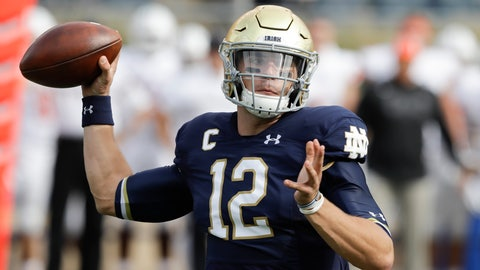 <p>               Notre Dame quarterback Ian Book (12) throws during the first half of an NCAA college football game against Bowling Green, Saturday, Oct. 5, 2019, in South Bend, Ind. (AP Photo/Darron Cummings)             </p>