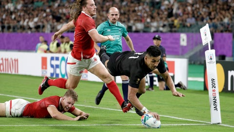 <p>               New Zealand's Rieko Ioane scores a try during the Rugby World Cup Pool B game at Oita Stadium between New Zealand and Canada in Oita, Japan, Wednesday, Oct. 2, 2019. (AP Photo/Aaron Favila)             </p>