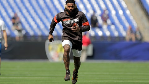<p>               Cleveland Browns wide receiver Odell Beckham works out prior to an NFL football game against the Baltimore Ravens Sunday, Sept. 29, 2019, in Baltimore. (AP Photo/Julio Cortez)             </p>