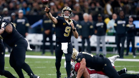 <p>               New Orleans Saints quarterback Drew Brees (9) passes in the second half of an NFL football game against the Arizona Cardinals in New Orleans, Sunday, Oct. 27, 2019. The Saints won 31-9. (AP Photo/Butch Dill)             </p>