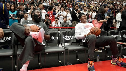<p>               Houston Rockets' James Harden, left, and Russell Westbrook share a light moment during warmups for the team's NBA preseason basketball game against the Toronto Raptors Thursday, Oct. 10, 2019, in Saitama, near Tokyo. (AP Photo/Jae C. Hong)             </p>