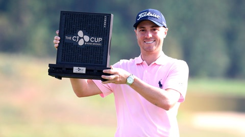 <p>               Justin Thomas of the United States poses with his trophy after winning the CJ Cup PGA golf tournament at Nine Bridges on Jeju Island, South Korea, Sunday, Oct. 20, 2019. (Park Ji-ho/Yonhap via AP)             </p>