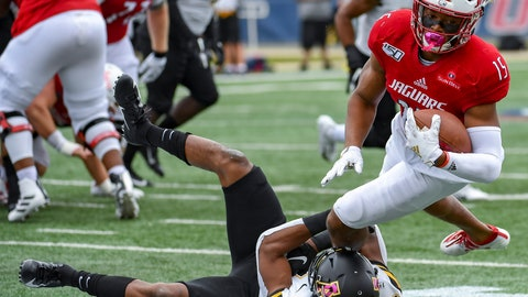 <p>               Appalachian State defensive back Ryan Huff (21) stops South Alabama wide receiver Kawaan Baker (15) during the first half of an NCAA college football game Saturday, Oct. 26, 2019, at Ladd-Peebles Stadium in Mobile, Ala. (AP Photo/Julie Bennett)             </p>