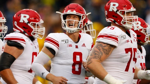 <p>               FILE - In this Sept. 28, 2019, file photo, Rutgers quarterback Artur Sitkowski (8) reacts running to the bench in the first half of an NCAA college football game against Michigan in Ann Arbor, Mich. Sitkowski and running back Raheem Blackshear took a redshirt year after coach Chris Ash was fired.  (AP Photo/Paul Sancya, FIle             </p>