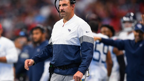<p>               Tennessee Titans head coach Mike Vrabel watches play against the Atlanta Falcons during the first half of an NFL football game, Sunday, Sept. 29, 2019, in Atlanta. (AP Photo/John Amis)             </p>
