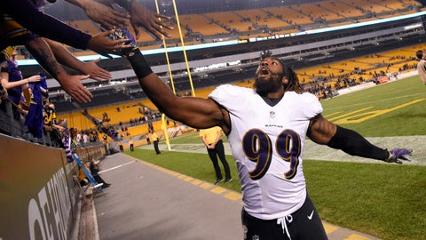 <p>               FILE - In this Sept. 30, 2018 file photo Baltimore Ravens linebacker Matt Judon celebrates with fans as he leaves the field after a 26-14 win over the Pittsburgh Steelers in an NFL football game in Pittsburgh. Judon is playing in the final year of his $2.59 million rookie deal, he says his focus is entirely on his performance. Next up for Judon and the Ravens is Cincinnati on Sunday, Oct. 13, 2019. (AP Photo/Don Wright, file)             </p>