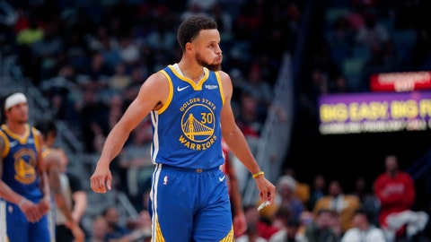 <p>               Golden State Warriors guard Stephen Curry (30) reacts after being called for a foul in the second half of an NBA basketball game against the New Orleans Pelicans in New Orleans, Monday, Oct. 28, 2019. (AP Photo/Gerald Herbert)             </p>