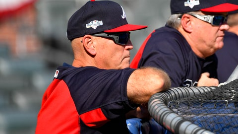 <p>               Atlanta Braves manager Brian Snitker watches a baseball team workout Wednesday, Oct. 2, 2019, at SunTrust Park in Atlanta. The Braves will host the St. Louis Cardinals in the first game of a National League Division Series on Thursday. (AP Photo/John Amis)             </p>