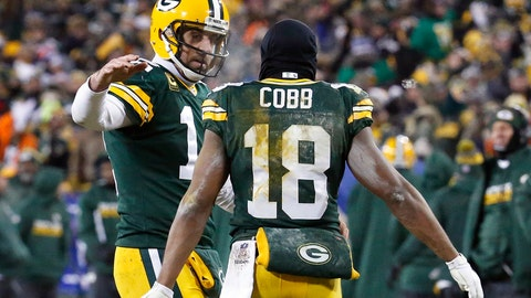 <p>               FILE - In this Jan. 8, 2017, file photo, Green Bay Packers quarterback Aaron Rodgers (12) and wide receiver Randall Cobb (18) celebrate after a touchdown during the second half of an NFC wild-card NFL football game against the New York Giants, in Green Bay, Wis. Randall Cobb still talks to his old quarterback regularly despite the receiver's move to the Dallas Cowboys after spending his first eight seasons with Aaron Rodgers and the Green Bay Packers. While Cobb hadn't spoken to Rodgers as of the middle of the week leading to their first game against each other Sunday, the trusty slot man didn't seem too hung up on avoiding contact. (AP Photo/Mike Roemer, File)             </p>