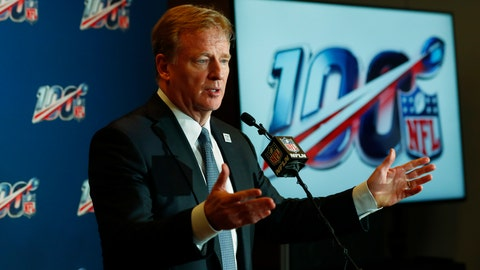<p>               NFL Commissioner Roger Goodell speaks at a news conference after the NFL Fall league meeting, Wednesday, Oct. 16, 2019, in Fort Lauderdale, Fla. (AP Photo/Wilfredo Lee)             </p>