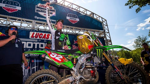 <p>               In this Aug. 24, 2019 photo, provided by Motocross Action Magazine. Adam Cianciarulo celebrates winning the Ironman National motocross race in Crawfordsville, Ind. Cianciarulo was one the next up-and-coming star in motocross. A series of injuries nearly chased him from the sport, but Cianciarulo has recovered is finally ready to ride toward the top. (Rich Shepherd/Motocross Action Magazine via AP)             </p>