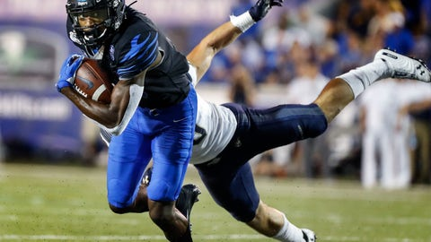 <p>               Memphis receiver Damonte Coxie, left, runs for a touchdown after a catch in front of Navy defender Kevin Brennan during an NCAA college football game Thursday, Sept. 26, 2019, in Memphis, Tenn. (Mark Weber/Daily Memphian via AP)             </p>