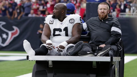 <p>               FILE - In this Oct. 27, 2019, file photo, Oakland Raiders center Rodney Hudson (61) leaves the team's NFL football game against the Houston Texans after an injury during the first half in Houston. The Raiders are preparing to make do without the anchor of their offensive line. Hudson missed practice on Wednesday with a sprained ankle that knocked him out of last week's loss at Houston and appears unlikely to be able to play this week against the Detroit Lions. Hudson is one of the most valuable members of the offense for the Raiders because of his strong blocking in the pass and run games and the ability to get the entire offense into the correct protections. (AP Photo/Michael Wyke, File)             </p>