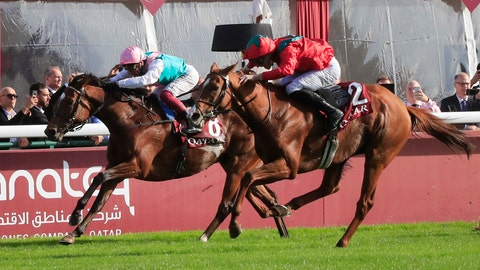 <p>               France's Pierre-Charles Boudot, right, riding British horse Waldgeist gains on Italian jockey Frankie Dettori riding British horse Enable during the Qatar Prix de l'Arc de Triomphe horse race at the Longchamp horse racetrack, outside of Paris, France, Sunday, Oct. 6, 2019. (AP Photo/Michel Euler)             </p>