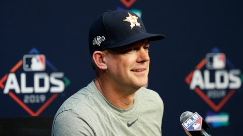<p>               Houston Astros manager AJ Hinch takes part in a news conference, Thursday, Oct. 3, 2019, in Houston. The Astros will host the Tampa Bay Rays in the first game of an American League Division Series on Friday. (AP Photo/Eric Gay)             </p>