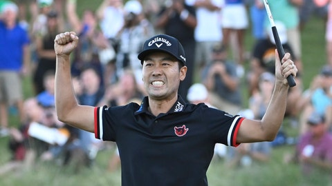 <p>               Kevin Na celebrates after winning the Shriners Hospitals for Children Open golf tournament on the second playoff hole Sunday, Oct. 6, 2019, in Las Vegas. (AP Photo/David Becker)             </p>