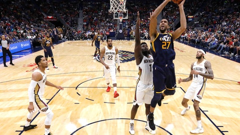 <p>               Utah Jazz center Rudy Gobert (27) shoots over New Orleans Pelicans forward Zion Williamson (1) during the second half of a preseason NBA basketball game in New Orleans, Friday, Oct. 11, 2019. (AP Photo/Tyler Kaufman)             </p>