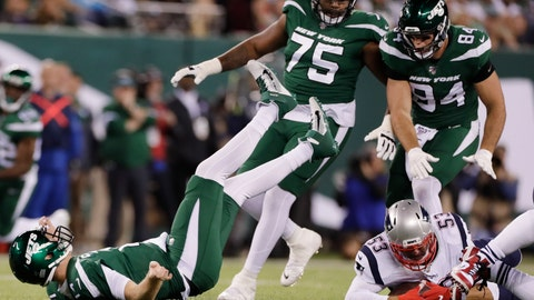 <p>               New England Patriots middle linebacker Kyle Van Noy (53) recovers the ball fumbled by New York Jets quarterback Sam Darnold, left, after Darnold was sacked during the first half of an NFL football game Monday, Oct. 21, 2019, in East Rutherford, N.J. (AP Photo/Adam Hunger)             </p>