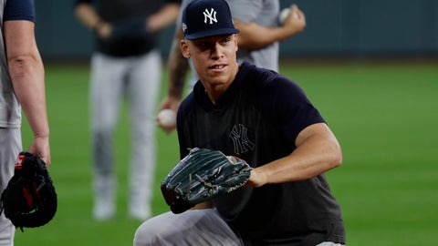 <p>               New York Yankees right fielder Aaron Judge takes part in a team workout for the baseball American League Championship Series in Houston, Friday, Oct. 11, 2019. The Yankees are scheduled to face the Houston Astros starting Saturday. (AP Photo/Eric Gay)             </p>