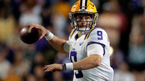 <p>               FILE - In this Oct. 12, 2019, file photo, LSU quarterback Joe Burrow (9) passes in the second half of an NCAA college football game against Florida, in Baton Rouge, La. Burrow was selected to the AP Midseason All-America NCAA college football team, Tuesday, Oct. 15, 2019. (AP Photo/Gerald Herbert)             </p>