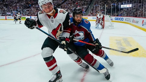 <p>               Arizona Coyotes center Barrett Hayton (29) and Colorado Avalanche left wing Pierre-Edouard Bellemare (41) fight for position during the first period of an NHL hockey game, Saturday, Oct. 12, 2019, in Denver. (AP Photo/Jack Dempsey)             </p>