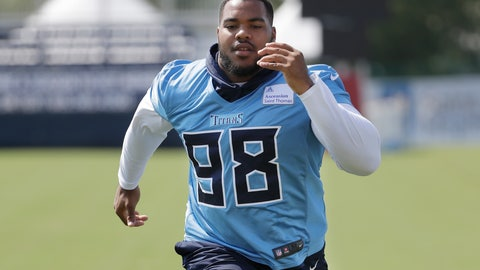 <p>               FILE- In this July 29, 2019, file photo, Tennessee Titans defensive lineman and top draft pick Jeffery Simmons runs during NFL football training camp in Nashville, Tenn. The defensive tackle out of Mississippi State tore his ACL in February but has begun practicing with the Titans even as he remains on the non-football injury list. The Titans are using the workouts to see if he is recovered enough to play, possibly against the Los Angeles Chargers on Sunday. (AP Photo/Mark Humphrey)             </p>