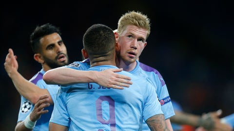 <p>               Manchester City's Gabriel Jesus celebrates with Kevin De Bruyne after scoring his side's third goal during the Group C Champions League soccer match between Manchester City and FC Shakhtar Donetsk in Kharkiv, Ukraine, Wednesday, Sept. 18, 2019. (AP Photo/Efrem Lukatsky)             </p>