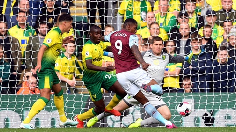 <p>               Aston Villa's Wesley scores his side's first goal of the game during the English Premier League soccer match at Carrow Road, Norwich, England, Saturday Oct. 5, 2019. (Joe Giddens/PA via AP)             </p>
