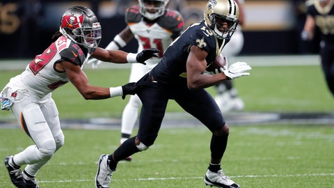 <p>               Tampa Bay Buccaneers cornerback Vernon III Hargreaves (28) tries to shirt-tackle New Orleans Saints wide receiver Michael Thomas (13) in the first half of an NFL football game in New Orleans, Sunday, Oct. 6, 2019. (AP Photo/Bill Feig)             </p>