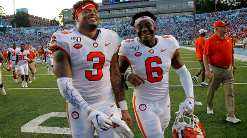 <p>               FILE - In this Sept. 28, 2019, file photo, Clemson's Xavier Thomas (3) and Mike Jones Jr. (6) celebrate after a failed North Carolina two-point conversion in the closing moments of an NCAA college football game in Chapel Hill, N.C. Clemson nearly saw a 19-game win streak end when North Carolina pushed the Tigers to the brink.  (AP Photo/Chris Seward, File)             </p>