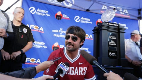 <p>               Quarterback of the NFL football Jacksonville Jaguars and former Washington State quarterback Gardner Minshew speaks with members of the media before an NCAA college football game between Washington State and UCLA in Pullman, Wash., Saturday, Sept. 21, 2019. (AP Photo/Young Kwak)             </p>