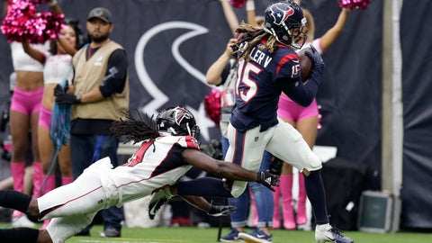 <p>               Houston Texans wide receiver Will Fuller (15) makes a catch for a touchdown asAtlanta Falcons cornerback Desmond Trufant (21) defends the play during the second half of an NFL football game Sunday, Oct. 6, 2019, in Houston. (AP Photo/Michael Wyke)             </p>