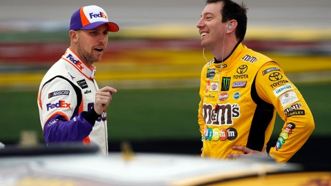 <p>               FILE - In this March 1, 2019, file photo, drivers Denny Hamlin, left, and Kyle Busch talk in pit lane before qualifying for the NASCAR Cup Series auto race at Las Vegas Motor Speedway in Las Vegas. Hamlin has all the momentum headed into the third round of NASCAR's playoffs, which start Sunday at Martinsville Speedway. But hot on his bumper are his Joe Gibbs Racing teammates, regular season champion Kyle Busch and Martin Truex Jr., who leads the series with six wins this season.(AP Photo/John Locher, File)             </p>