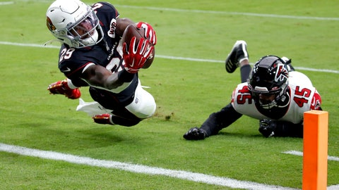 <p>               Arizona Cardinals running back Chase Edmonds (29) scores a touchdown as Atlanta Falcons linebacker Deion Jones (45) defends during the first half of an NFL football game, Sunday, Oct. 13, 2019, in Glendale, Ariz. (AP Photo/Ross D. Franklin)             </p>