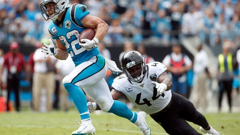 <p>               Carolina Panthers running back Christian McCaffrey (22) runs for a tuchdown as Jacksonville Jaguars middle linebacker Myles Jack (44) reaches during the first half of an NFL football game in Charlotte, N.C., Sunday, Oct. 6, 2019. (AP Photo/Brian Blanco)             </p>