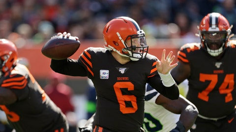 <p>               Cleveland Browns quarterback Baker Mayfield throws during the first half of an NFL football game against the Seattle Seahawks, Sunday, Oct. 13, 2019, in Cleveland. (AP Photo/Ron Schwane)             </p>