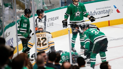 <p>               Dallas Stars defenseman Roman Polak (45) lies on the ice after going head-first into the boards during the second period of the team's NHL hockey game against the Boston Bruins, Thursday, Oct. 3, 2019, in Dallas. Polak was taken off the ice on a stretcher. (AP Photo/Brandon Wade)             </p>