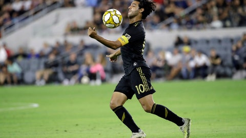 <p>               Los Angeles FC's Carlos Vela traps the ball with his chest during the first half of an MLS soccer match against Toronto FC Saturday, Sept. 21, 2019, in Los Angeles. (AP Photo/Marcio Jose Sanchez)             </p>