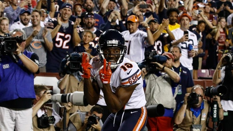 <p>               Chicago Bears wide receiver Taylor Gabriel (18) celebrates his touchdown pass during the first half of an NFL football game against the Washington Redskins, Monday, Sept. 23, 2019, in Landover, Md. (AP Photo/Patrick Semansky)             </p>