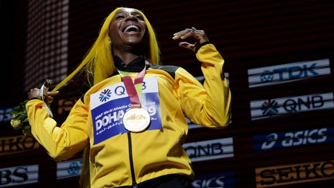 <p>               Shelly-Ann Fraser-Pryce of Jamaica, gold medalist in the women's 100 meters, reacts during the medal ceremony at the World Athletics Championships in Doha, Qatar, Monday, Sept. 30, 2019. (AP Photo/Nariman El-Mofty)             </p>