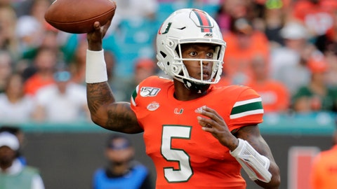 <p>               Miami quarterback N'Kosi Perry (5) stands back to pass during the first half of an NCAA college football game against Virginia, Saturday, Oct. 5, 2019, in Miami Gardens, Fla. (AP Photo/Lynne Sladky)             </p>
