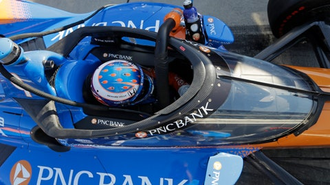<p>               Scott Dixon, of New Zealand, sits in his car during the Aeroscreen testing at Indianapolis Motor Speedway, Wednesday, Oct. 2, 2019, in Indianapolis. (AP Photo/Darron Cummings)             </p>
