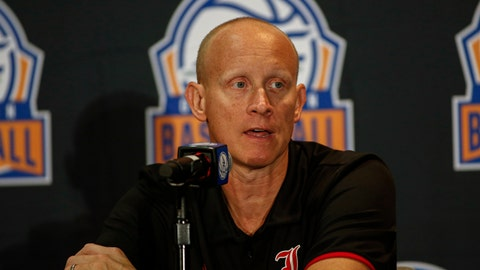 <p>               Louisville coach Chris Mack answers a question during the Atlantic Coast Conference NCAA college basketball media day in Charlotte, N.C., Tuesday, Oct. 8, 2019. (AP Photo/Nell Redmond)             </p>