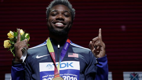 <p>               Noah Lyles of the United States, gold medalist in the men's 200 meters, poses during the medal ceremony at the World Athletics Championships in Doha, Qatar, Wednesday, Oct. 2, 2019. (AP Photo/Nariman El-Mofty)             </p>