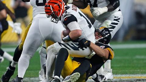 <p>               Pittsburgh Steelers outside linebacker T.J. Watt (90) sacks Cincinnati Bengals quarterback Andy Dalton (14) during the second half of an NFL football game in Pittsburgh, Monday, Sept. 30, 2019. (AP Photo/Tom Puskar)             </p>