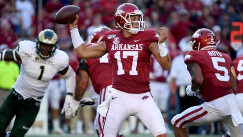 <p>               Arkansas quarterback Nick Starkel throws a pass against Colorado State during the second half of an NCAA college football game Saturday, Sept. 14, 2019, in Fayetteville, Ark. (AP Photo/Michael Woods)             </p>