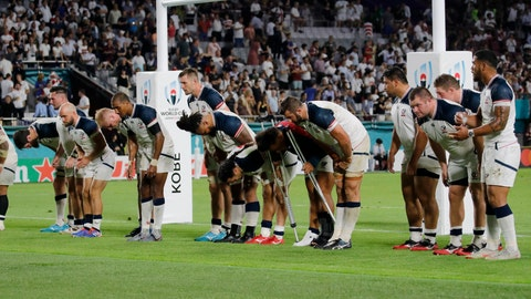 <p>               The United States players bow to the crowd following the Rugby World Cup Pool C game at Kobe Misaki Stadium against England in Kobe, Japan, Thursday, Sept. 26, 2019. England won 45-7. (AP Photo/Christophe Ena)             </p>