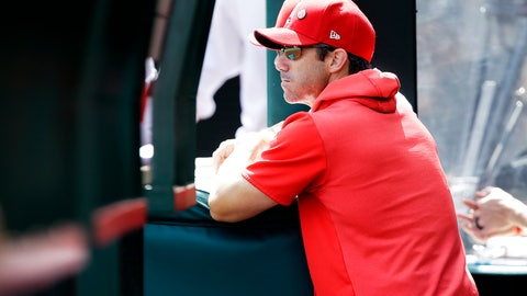 <p>               Los Angeles Angels manager Brad Ausmus looks out at the field during the first inning of a baseball game against the Houston Astros in Anaheim, Calif., Sunday, Sept. 29, 2019. (AP Photo/Alex Gallardo)             </p>