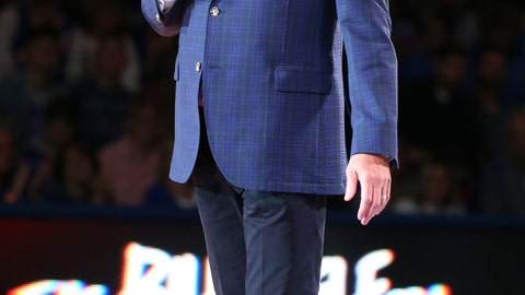 <p>               In this Friday, Oct. 4, 2019 photo, Kansas head coach Bill Self addresses the crowd during Late Night in the Phog, Kansas' annual NCAA college basketball kickoff at Allen Fieldhouse in Lawrence, Kan. (Nick Krug/The Lawrence Journal-World via AP)             </p>